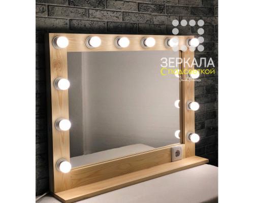 Гримерное зеркало с подсветкой и полкой 90х70