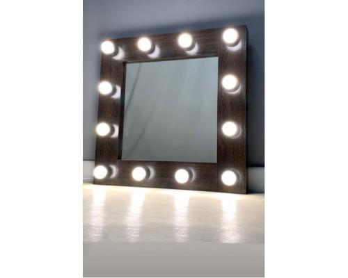 Подвесное гримерное зеркало с контурной подсветкой 60х60 см 12 ламп