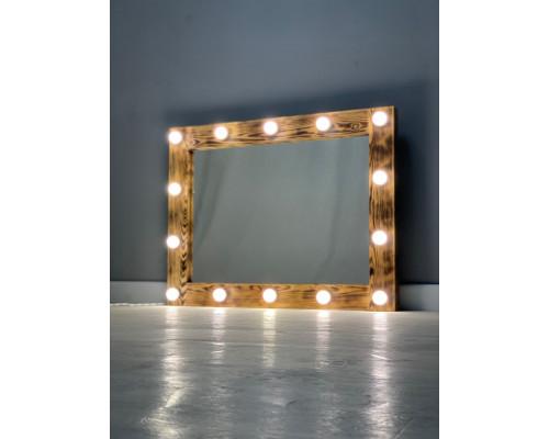 Гримерное зеркало 70х90 цвета кофе с подсветкой 14 ламп по периметру