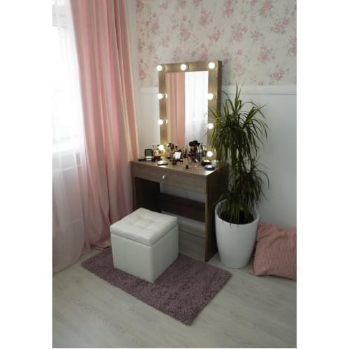 Дамский столик для косметики 80х80 с зеркалом и подсветкой 80х60